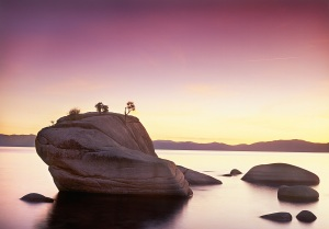 Setting Sun on Bonsai Rock, Lake Tahoe, Nevada