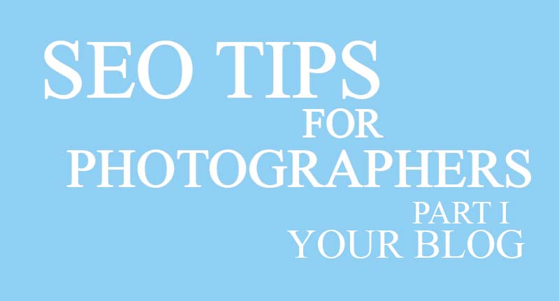 blue background with white text. seo tips for photographers